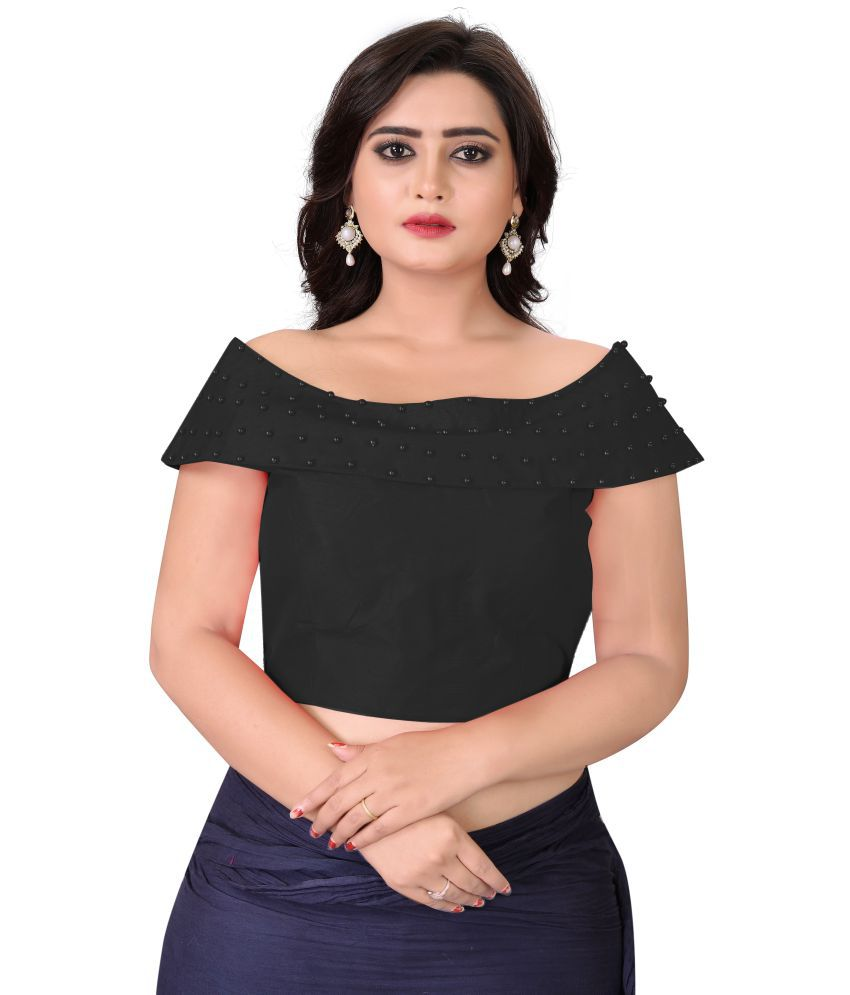 FashionUma Black Silk Readymade with Pad Blouse