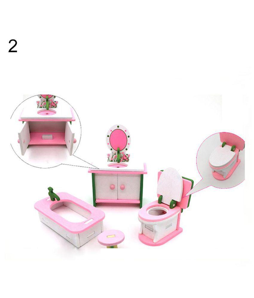 4Pcs Miniature Kid Kitchen Play House Toys Set Child Wooden Block DIY Puzzle Toy