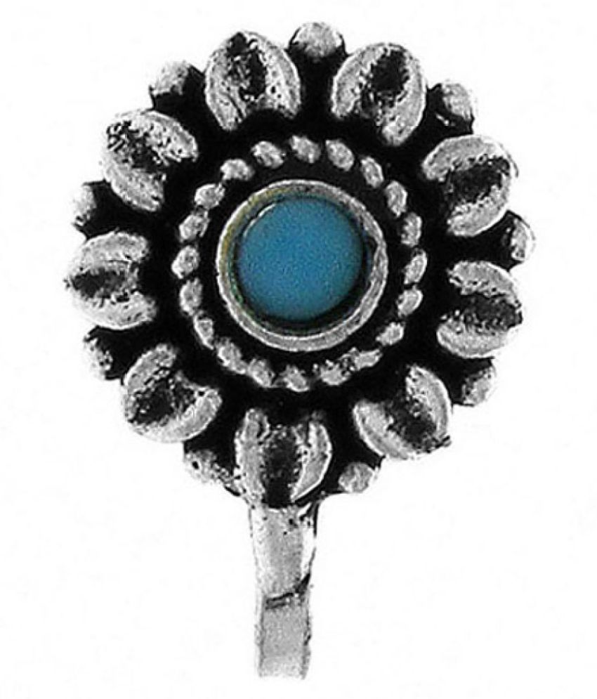 Anuradha Art Blue Colour Round Shape Styled Classy New Look Press On Nose Ring/Pin For Women/Girls