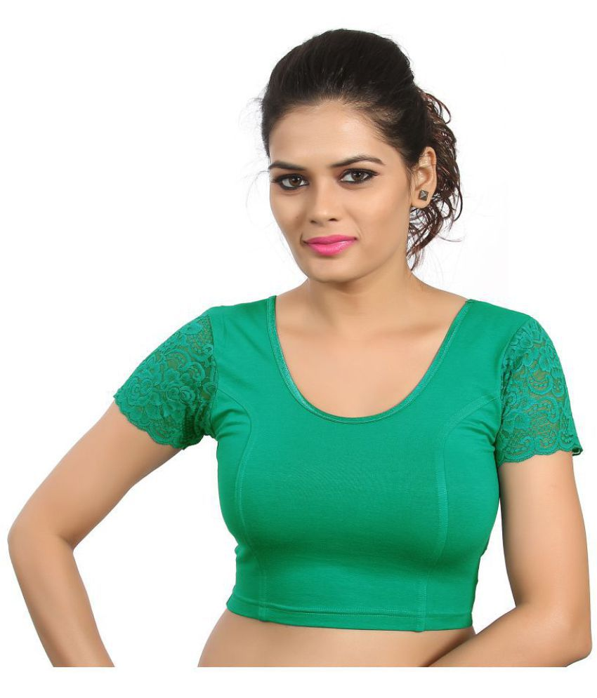 Atulya Designer Blouse Green Lycra Readymade without Pad Blouse