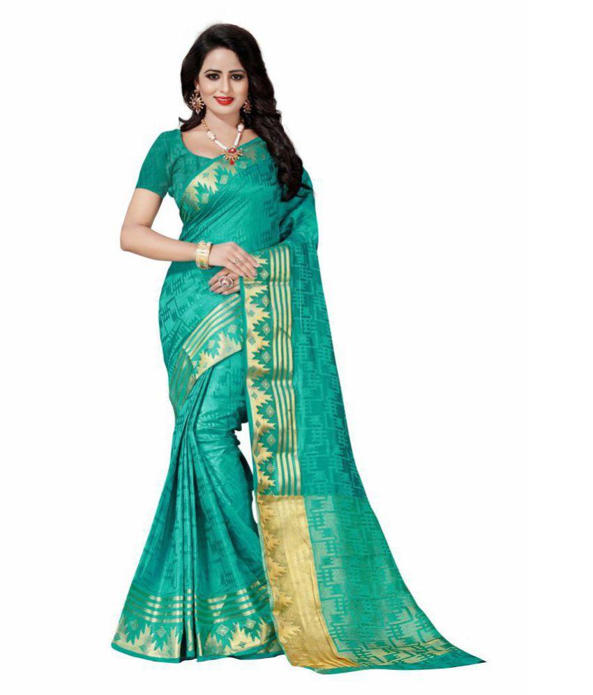 Wedding Villa Green Art Silk Saree