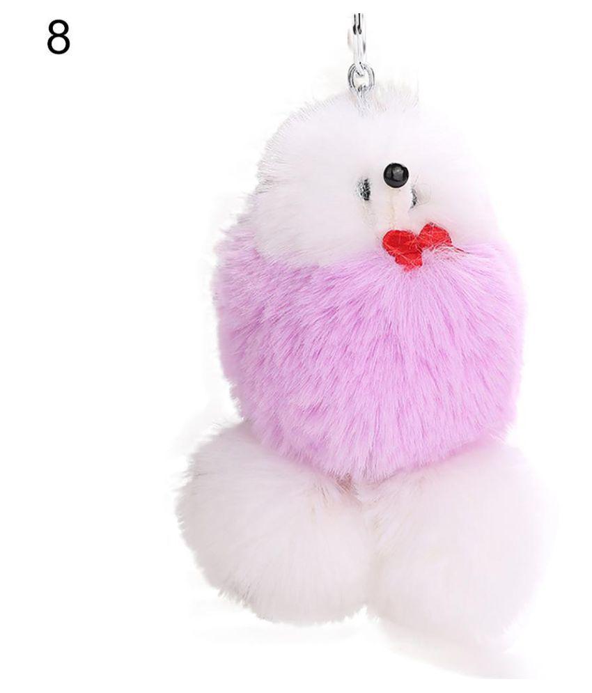 Women's Key Ring Cute Dog Puppy Lovely Fluffy Ball Keychain Bag Pendant Ornament