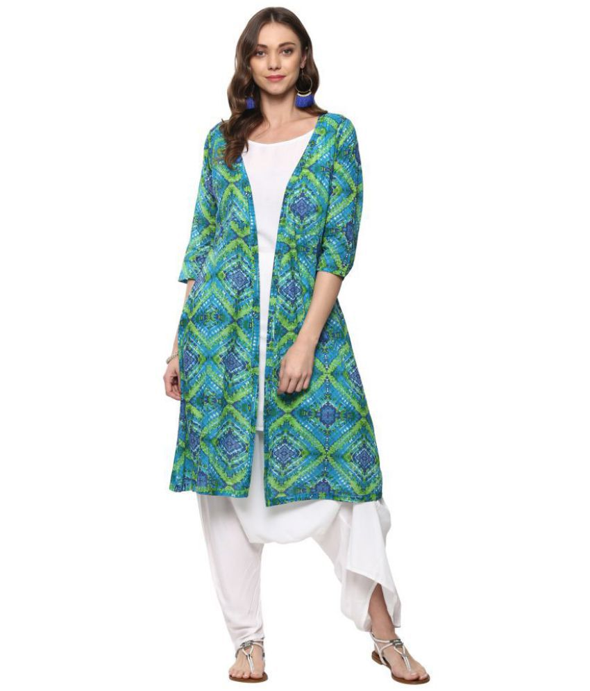 Vedic Green Cotton Jacket style Stitched Suit