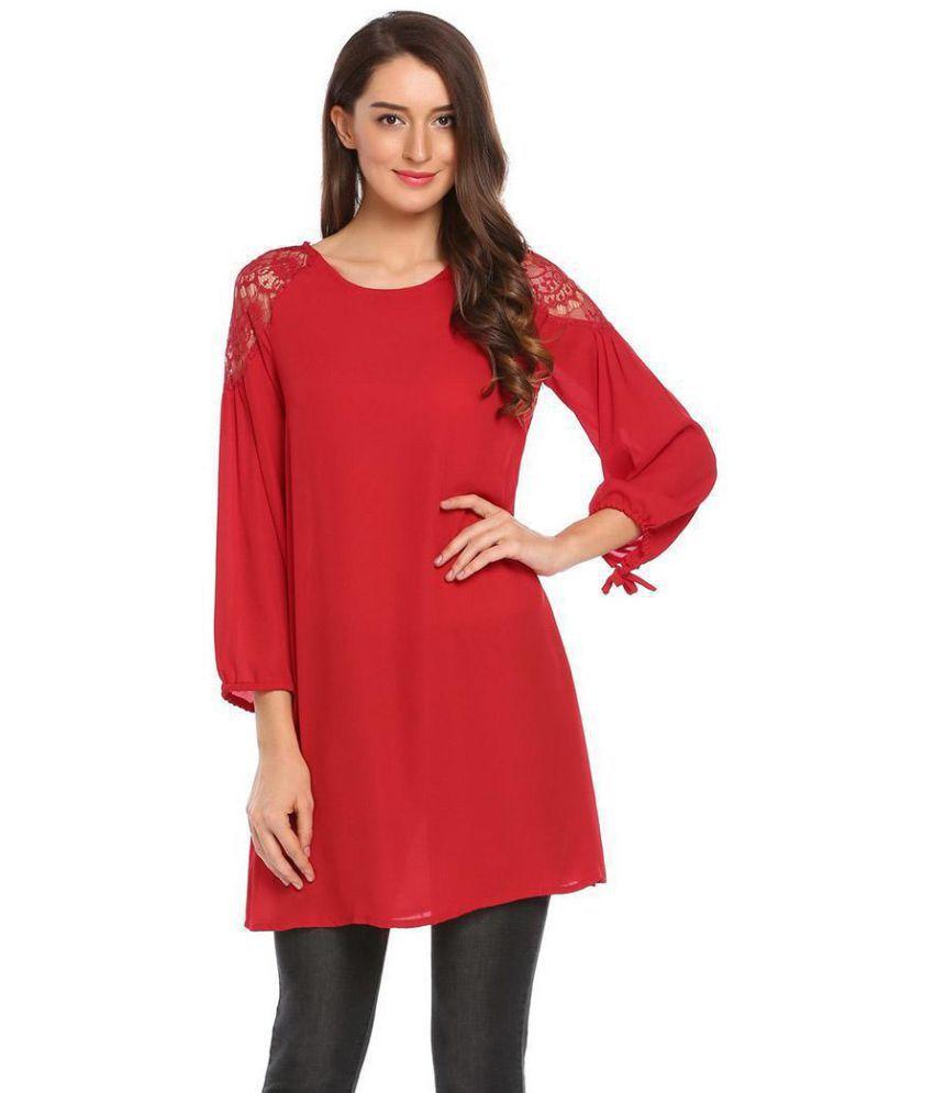 Generic Lace red Asymmetric dress