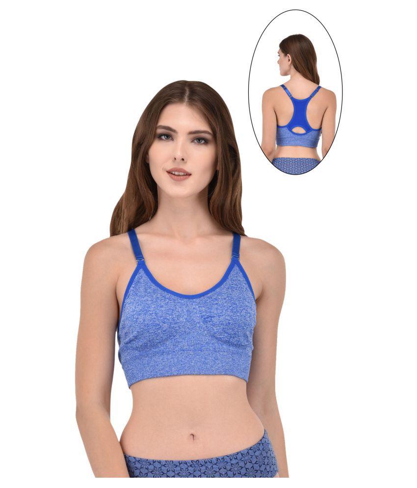 LADONNA Cotton Lycra Bralette - Blue