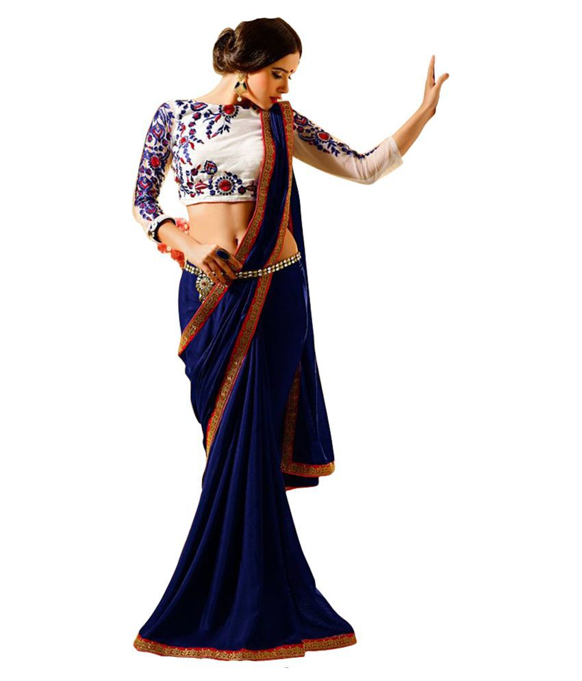 LAXMIPATI STORE Blue and White Georgette Saree