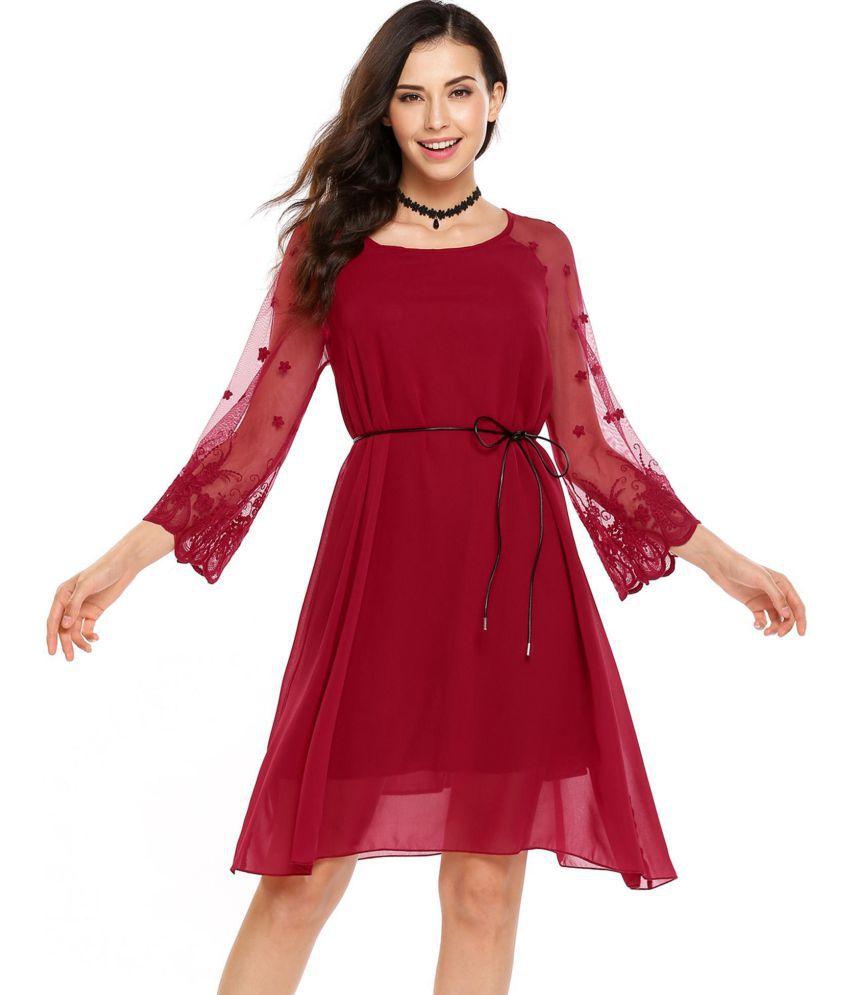 Generic Chiffon red Asymmetric dress