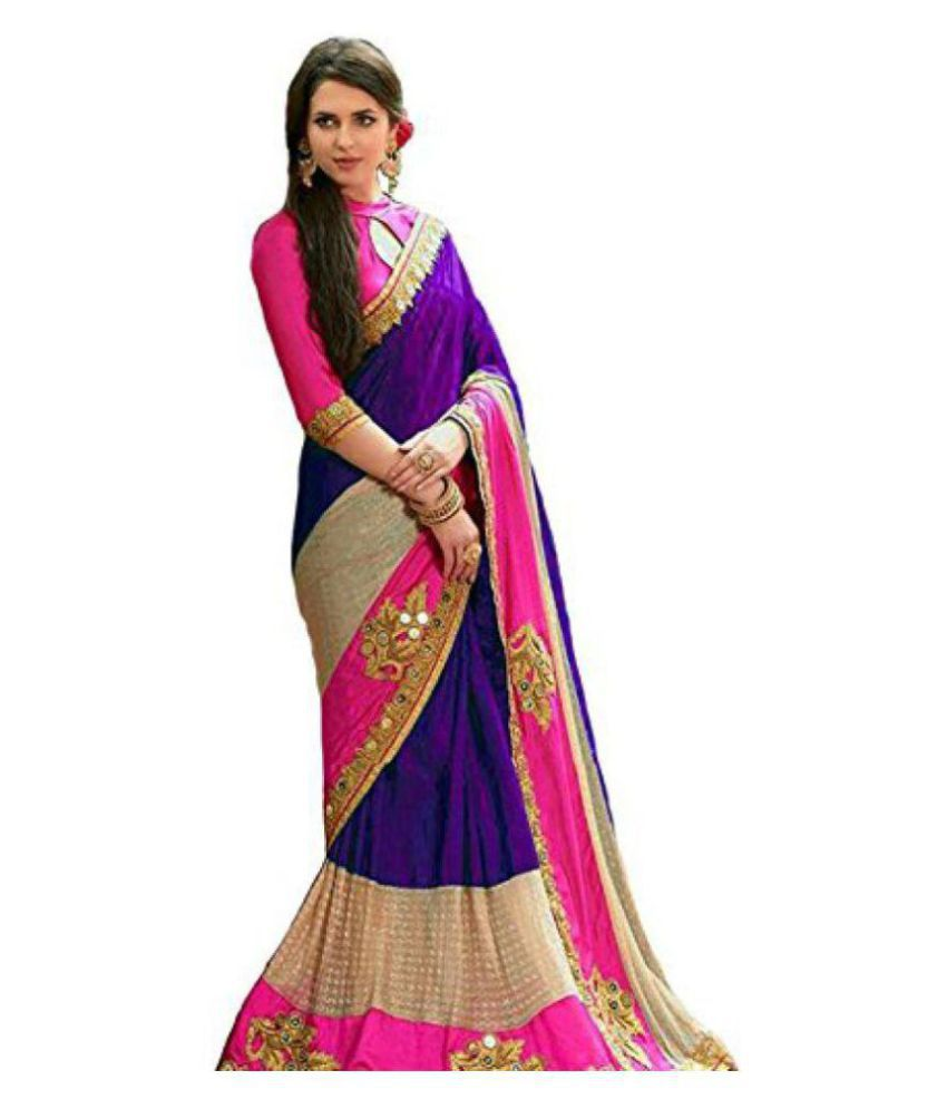SareeShop Designer SareeS Purple and Beige Silk Saree