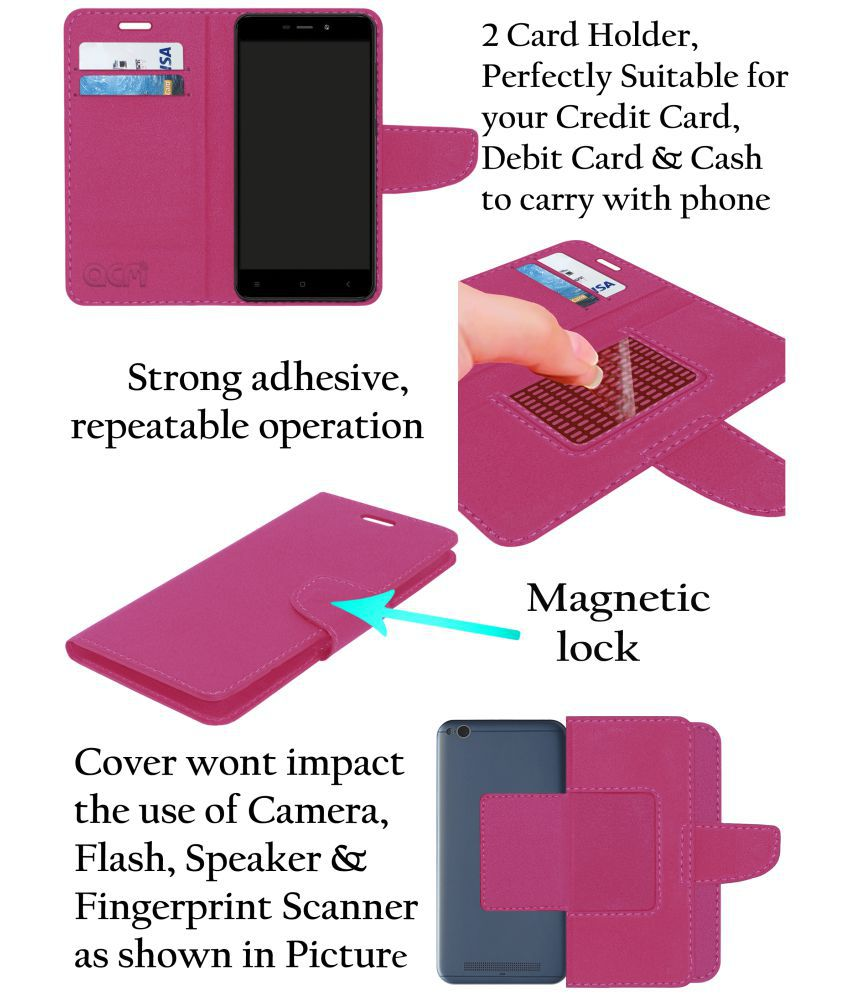 Oppo F9 Pro Flip Cover by ACM - Pink Wallet Case,Can store 2 Card/Cash