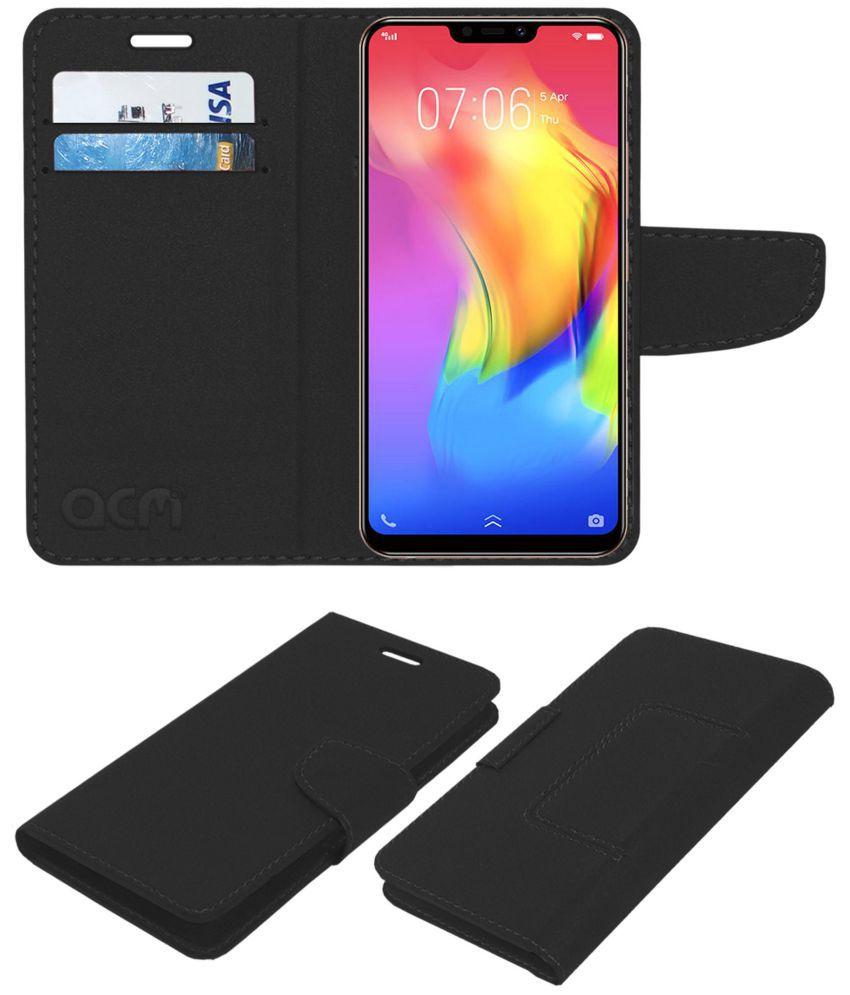 detailed look d9de0 aa74a Vivo Y83 Pro Flip Cover by ACM - Black Wallet Case,Can store 2 Card/Cash