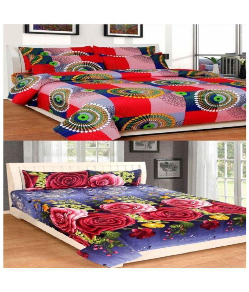 Geo Nature Microfibre 2 Double Bedsheets with 4 Pillow Covers