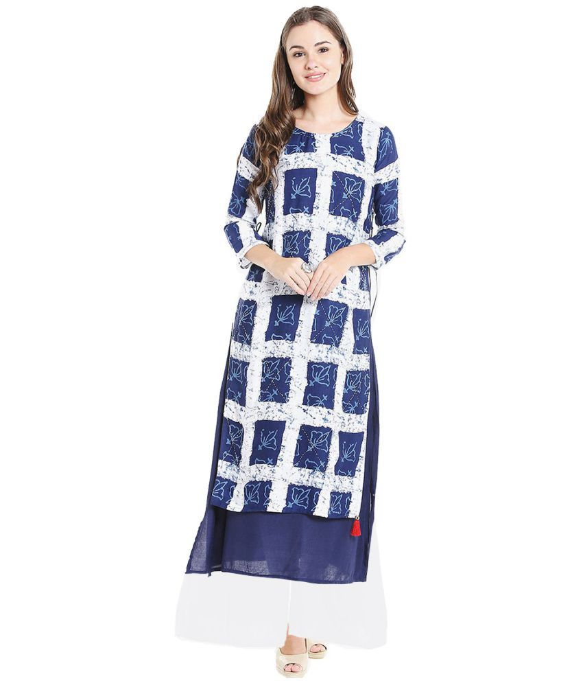 Ishin Blue Rayon A-line Stitched Suit