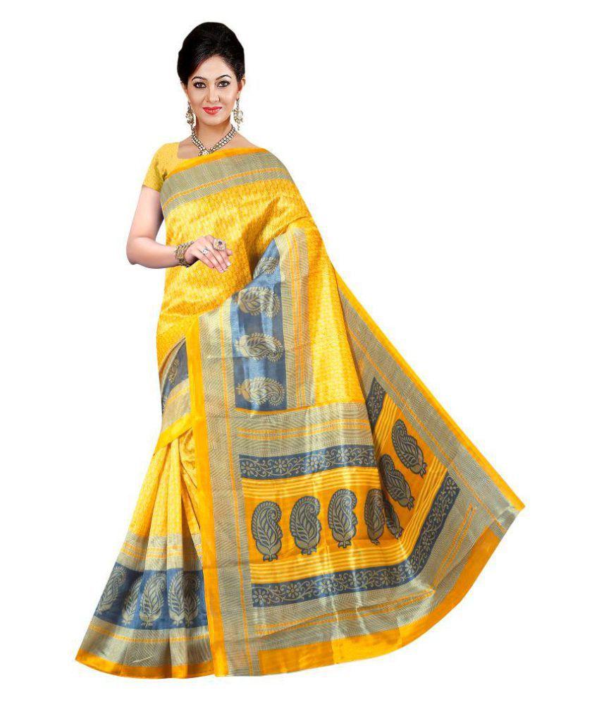 Pehnava Yellow Cotton Silk Saree