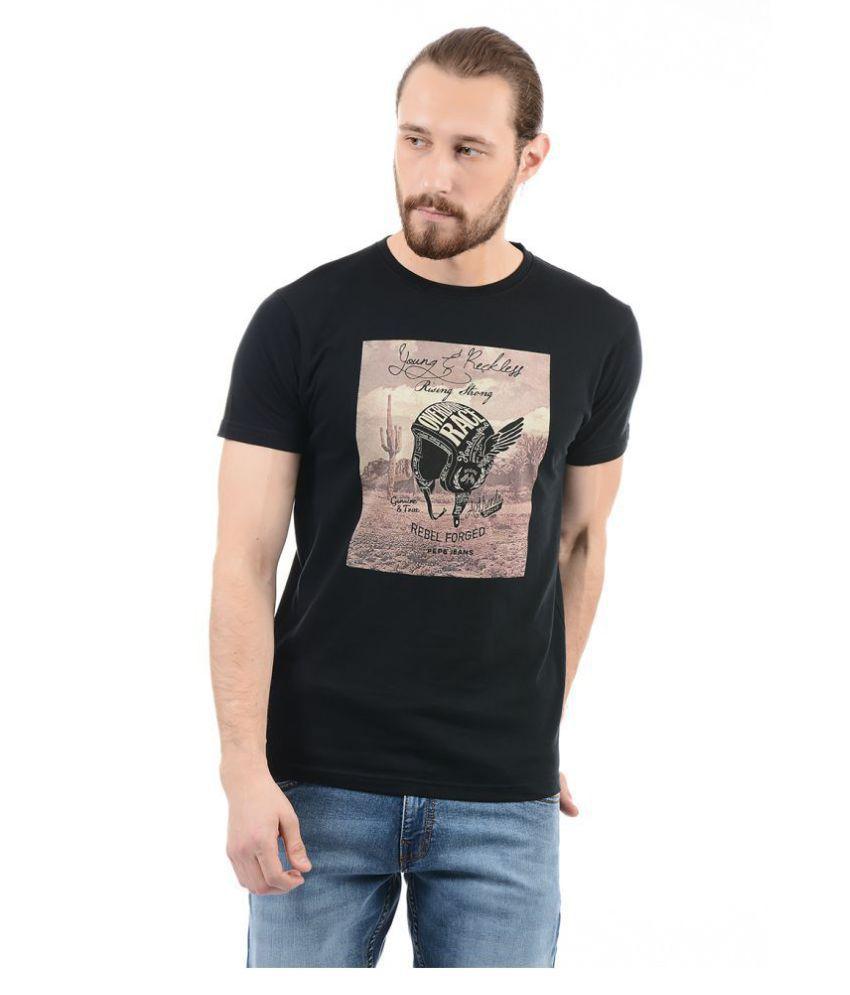 Pepe Jeans Black Half Sleeve T-Shirt