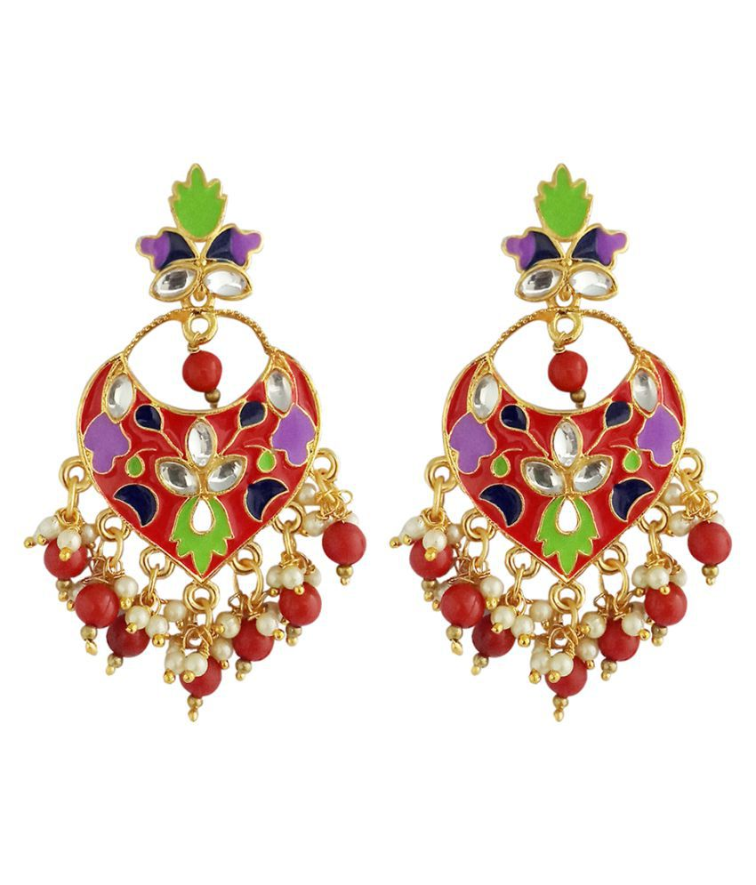 JewelMaze Red Meenakari And Beads Kundan Dangler Earrings -1314211D