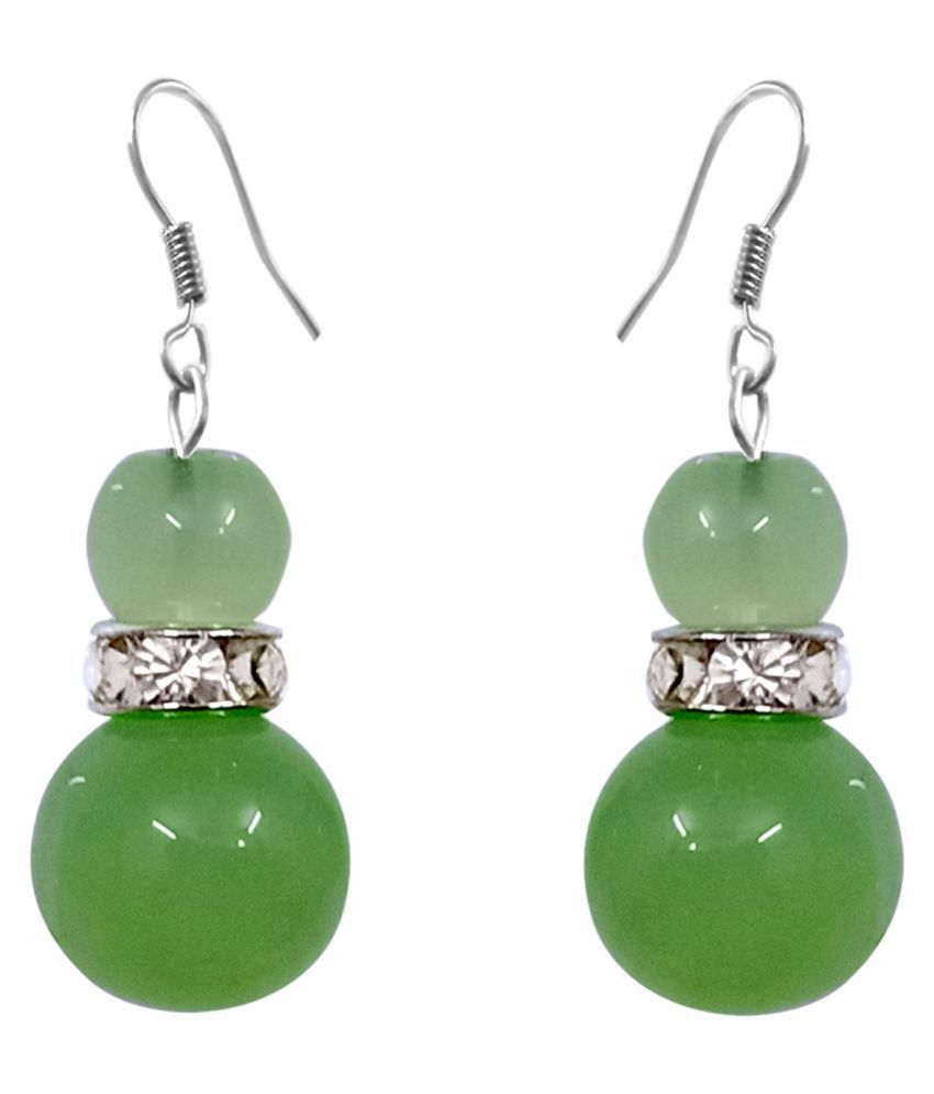 Light Green Colour Round Moonball & Green Colour Pearl With Diamond Spacer Rhodium Plated Fish Hook Earring