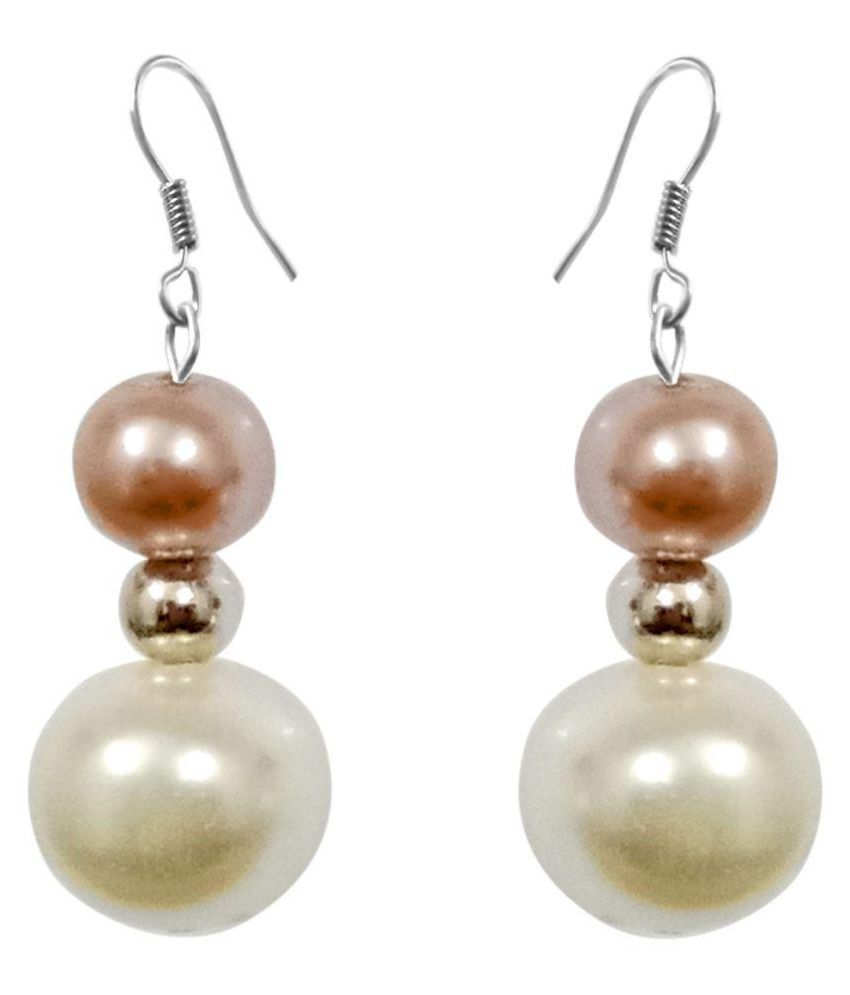Brown Moonball and White Pearl with Rhodium Ball Fish Hook Earring