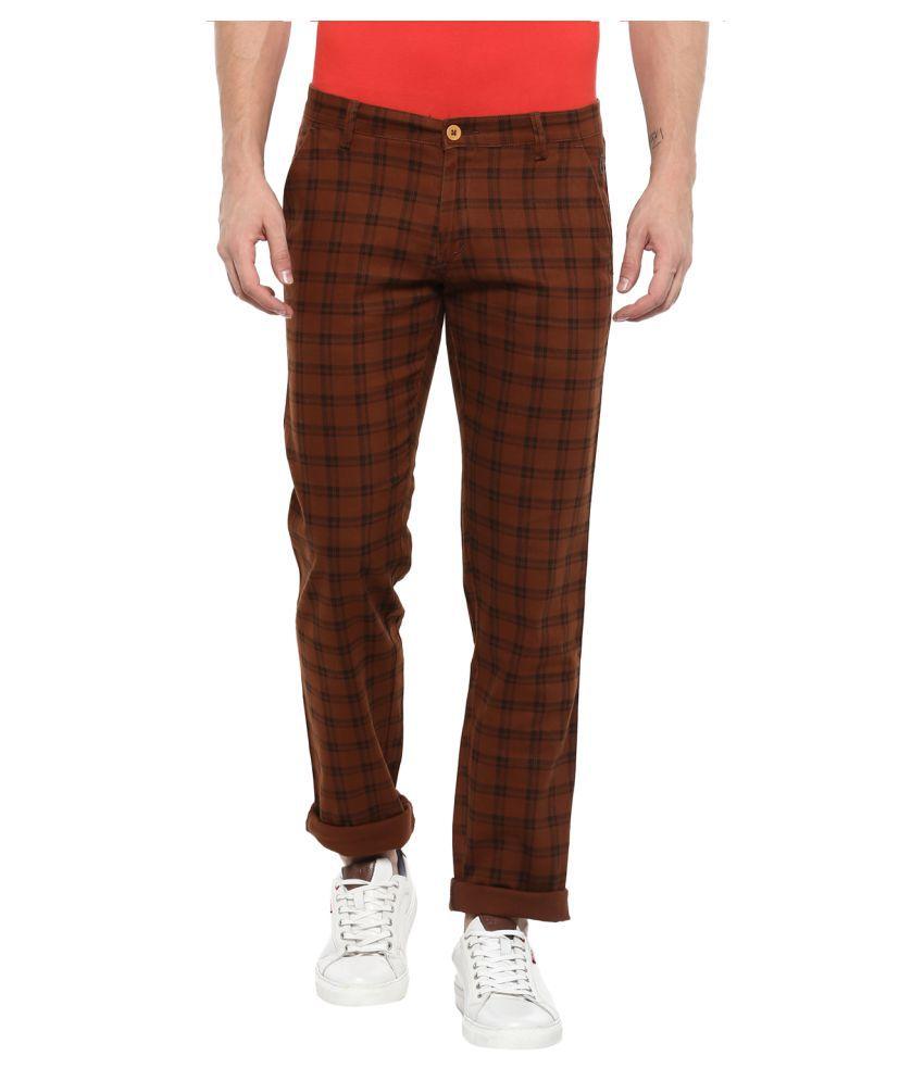 Urbano Fashion Brown Slim -Fit Flat Chinos