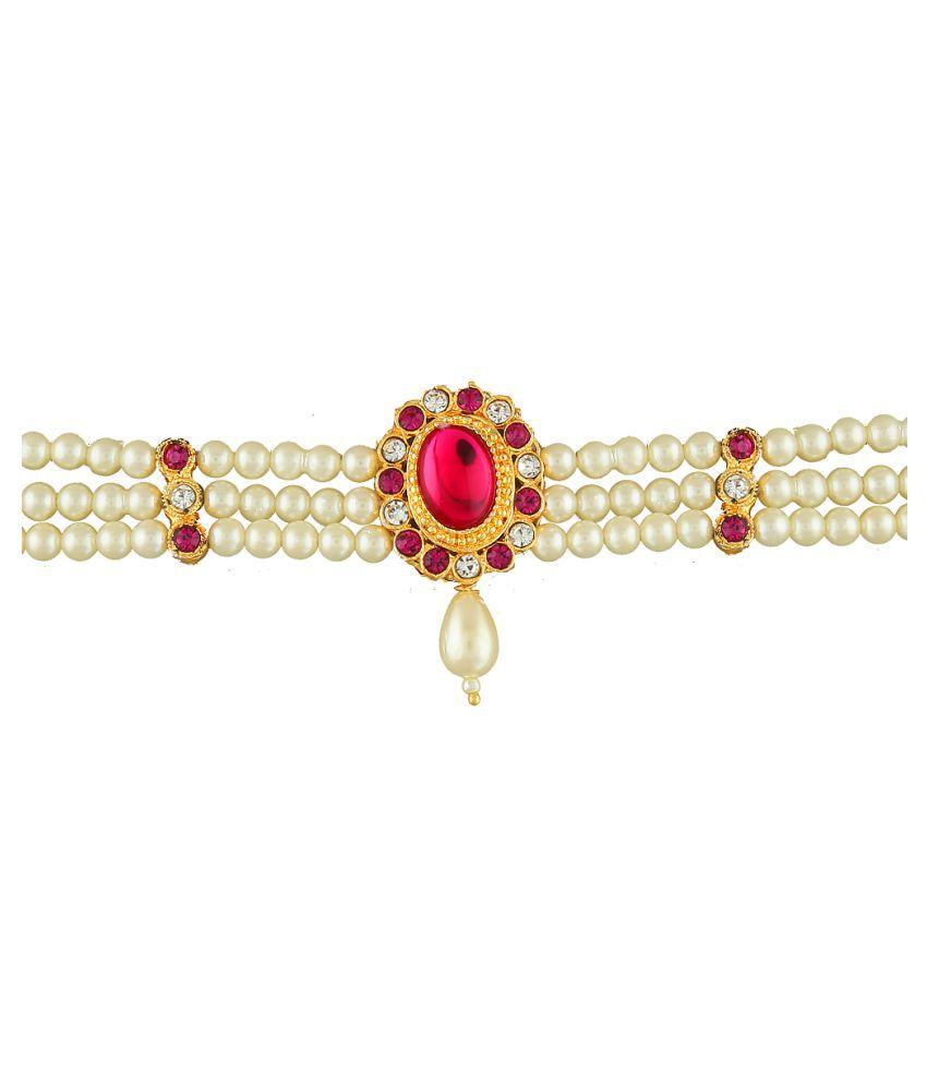 Anuradha Art Pink Colour Oval Shape Designer Studded Stone Trendy Armlets For Women/Girls