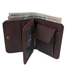 YGREEN Leather Brown Formal Short Wallet
