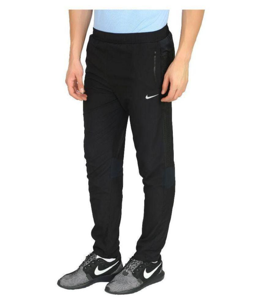 Nike Black/Blue Polyester Track Pant for Men