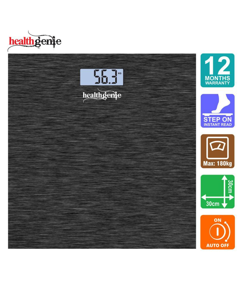 Healthgenie Digital Personal Weighing Scale with USB cable and Step On Technology - HD 221 (Dark Grey)