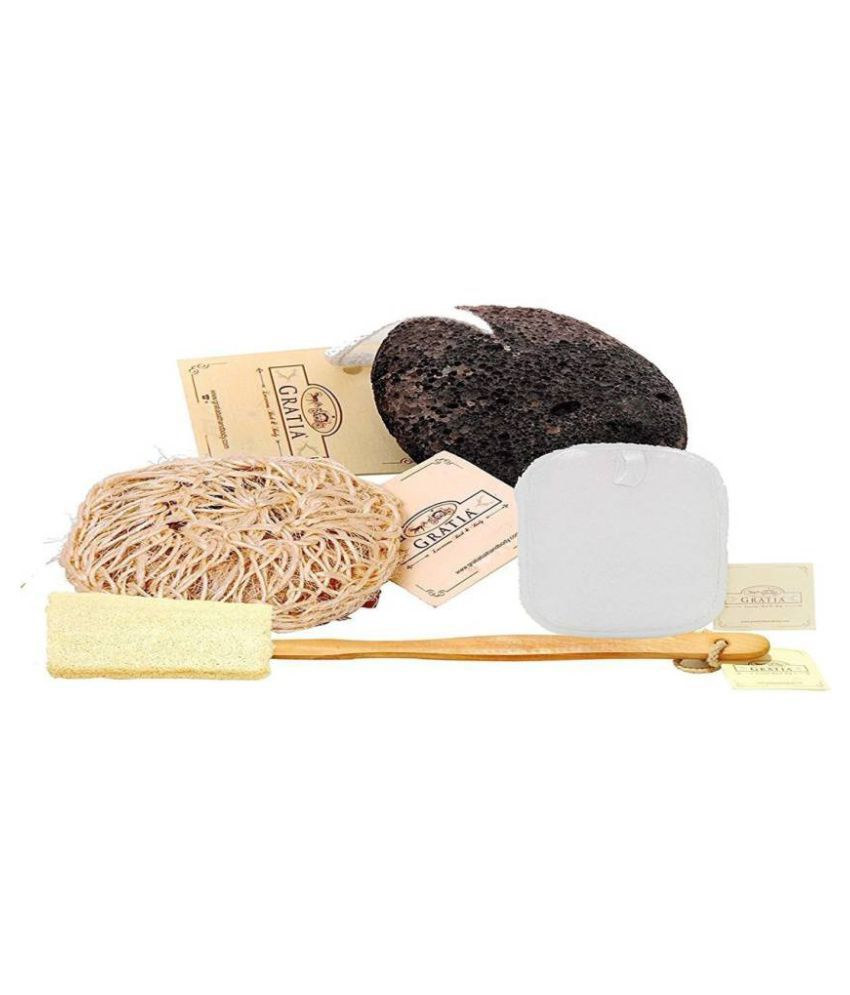 Gratia LOOFAH COMBO PACK 4 PC (VOLCANIC STONE) Loofah White Pack of 4