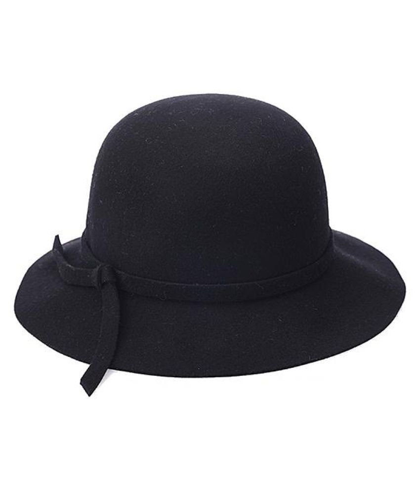 1daeb825718 ... Women Winter Elegant Wool Bucket Hat Bow Tie Wide Brim Solid Floppy Hat  ...