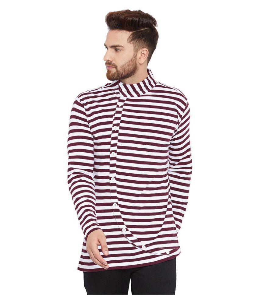 Chill Winston 100 Percent Cotton Maroon Striper T-Shirt