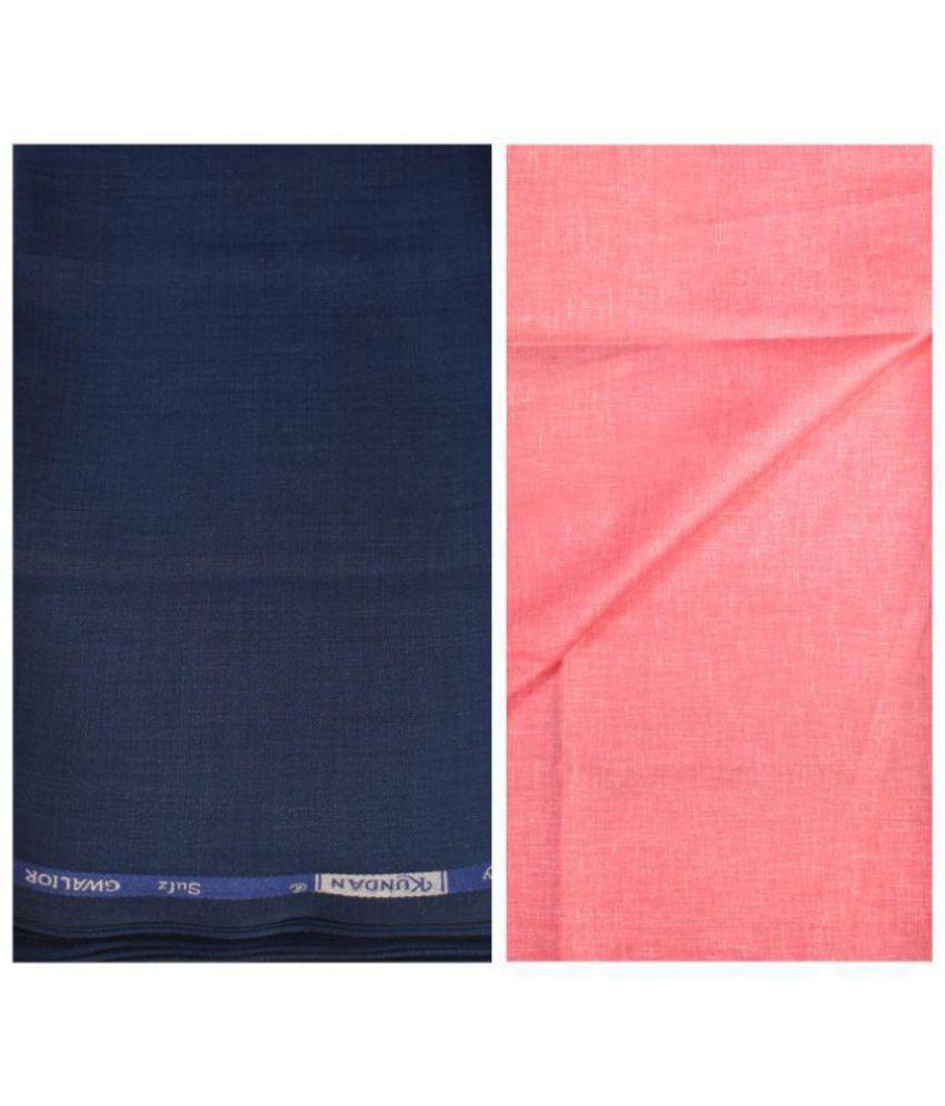 KUNDAN SULZ GWALIOR Blue Poly Viscose Unstitched Shirts & Trousers