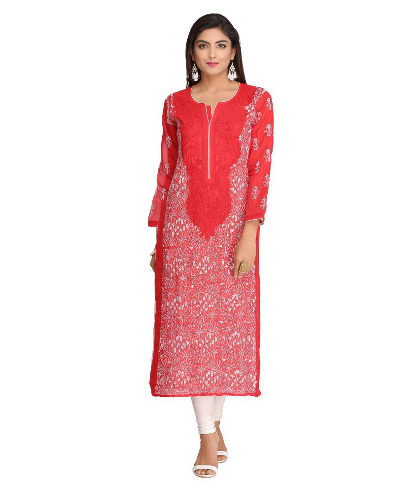 Ada Red Cotton Straight Kurti