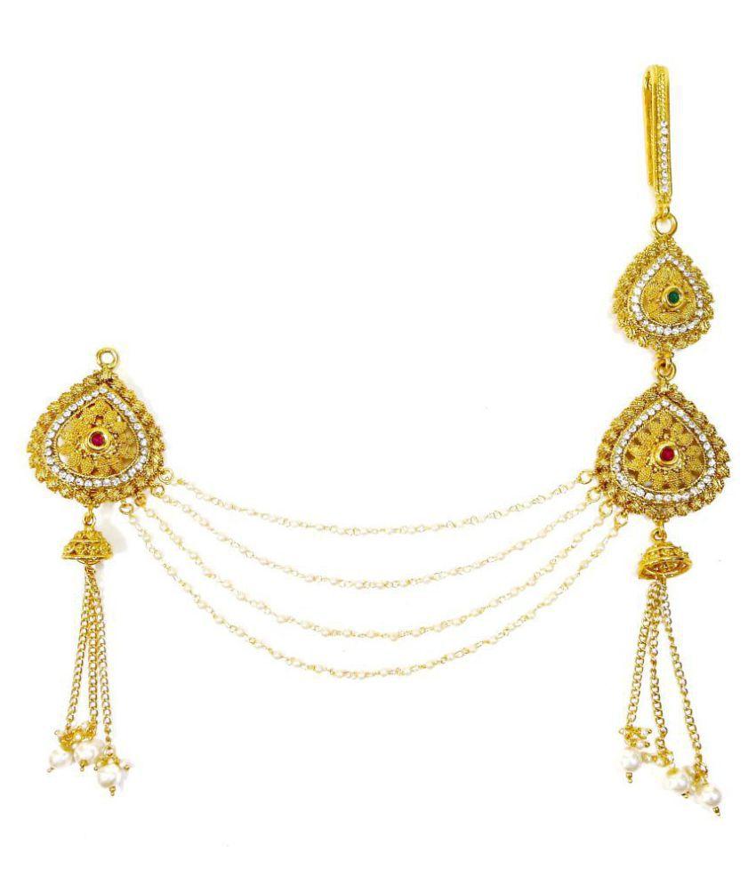 607c1e6eb ... Lalso Multicolour Kundan Pearl Sareepin Brooch Juda Waist Belly Hip  Chain Belt Kamarband Keychain Ethnic Wedding