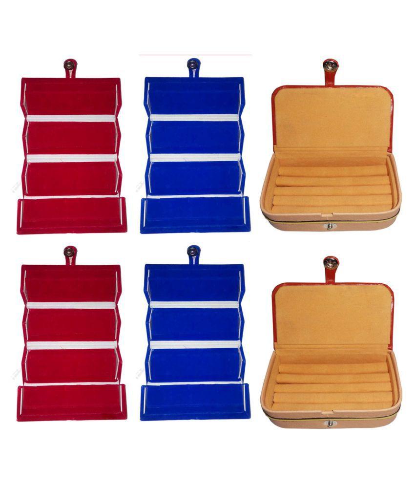 Shivansh Traders Combo 2 pc red earring folder 2 pc blue ear ring folder 2 pc ring jewelry vanity box
