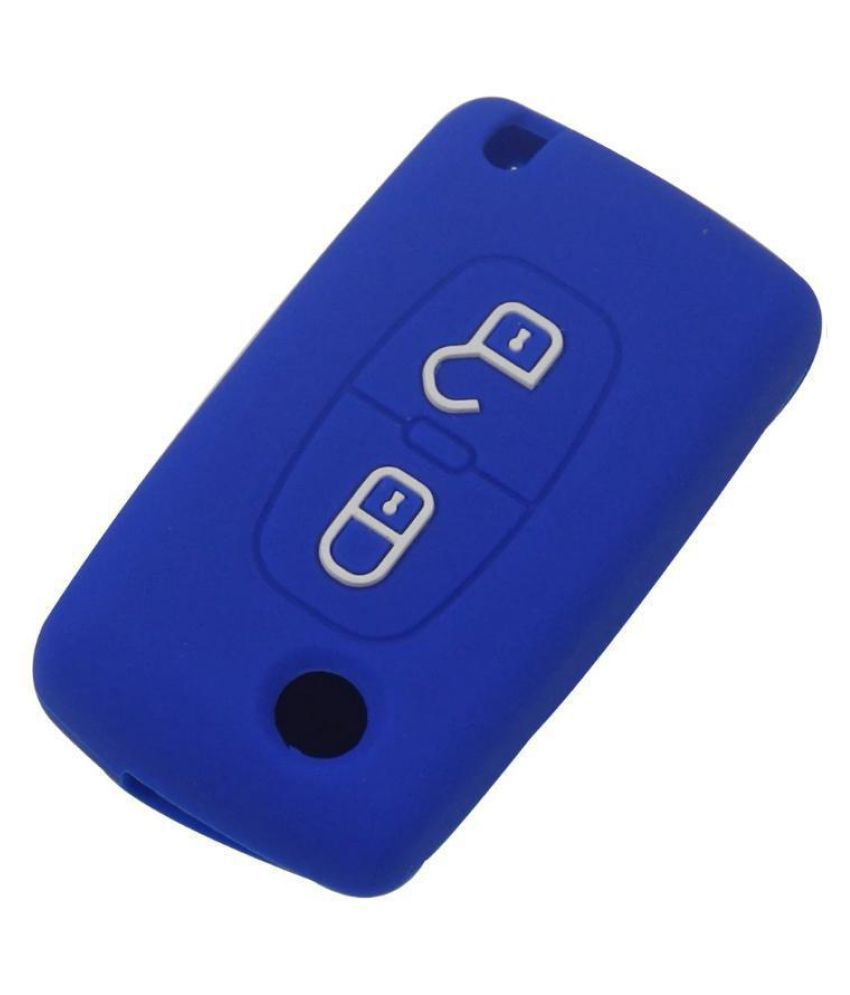 3 Buttons Silicone Cover Holder Auto Car Key Jacket For Peugeot 408