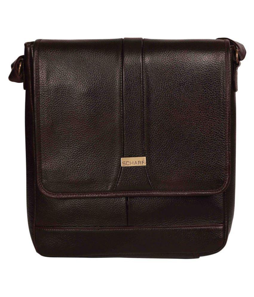 Scharf Nico Marlon Brown Leather Office Messenger Bag