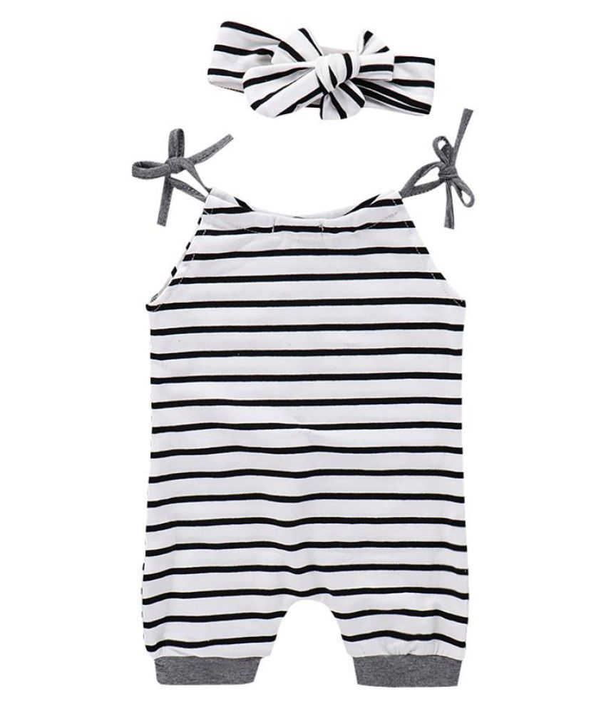 Cute Summer Baby Girl Infant Newborn Toddler Striped Romper and Bowknot Headband
