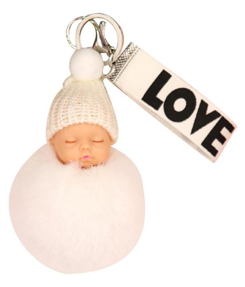 LOVE Webbing Cute Sleeping Baby Doll Faux Fur Ball Women Keychain Bag Pendant