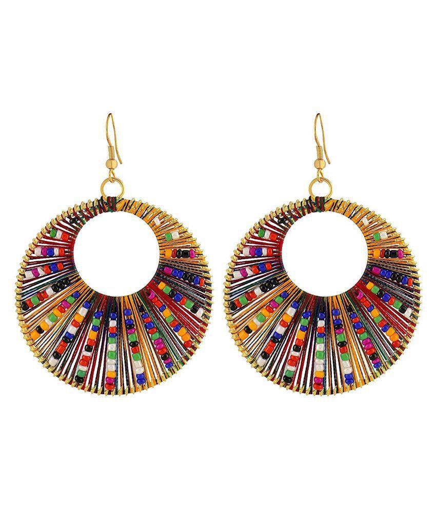 Thread Round Multicolor Earrings earrings for women hoop earrings for girls Party Wear Earrings
