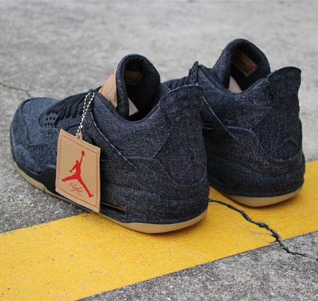 best service db1b5 91d2b Nike AIR Jordan 4 Retro Levis Black Black Basketball Shoes