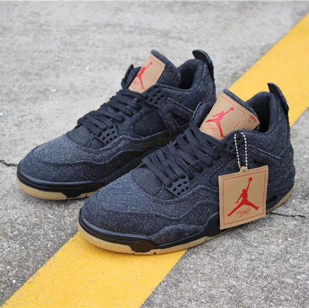 e10782a0b25 Nike AIR Jordan 4 Retro Levis Black Black Basketball Shoes - Buy ...