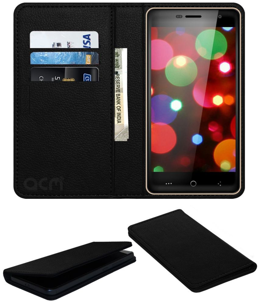 Celkon UFeel 4G Flip Cover by ACM - Black Wallet Case,Can store 3 Card/Cash