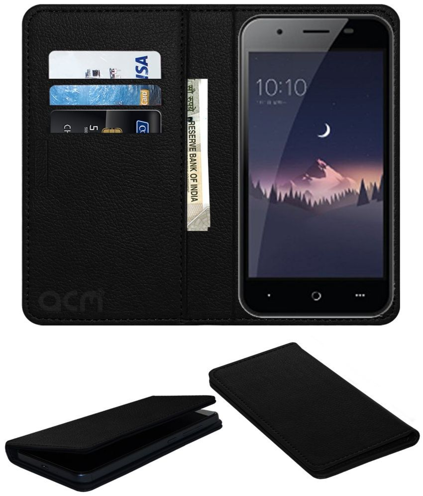 LEPHONE W12 Flip Cover by ACM - Black Wallet Case,Can store 3 Card/Cash