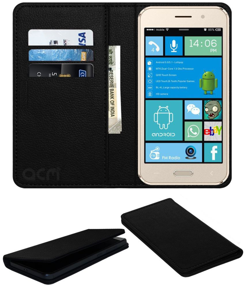 Puncher A8 Flip Cover by ACM - Black Wallet Case,Can store 3 Card/Cash