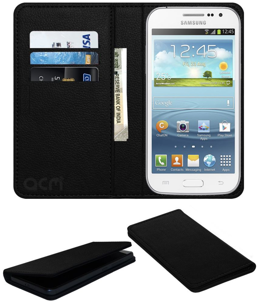 Samsung Galaxy Grand Quattro Flip Cover by ACM - Black Wallet Case,Can store 3 Card/Cash