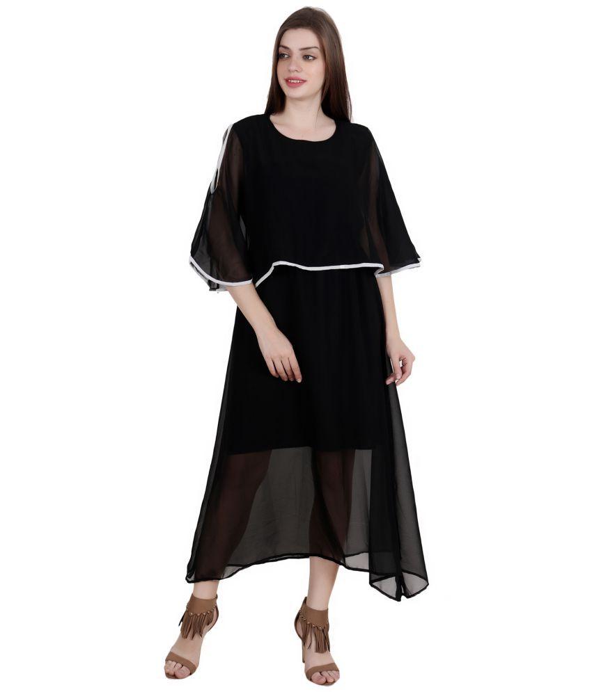 Fashionaire Georgette Black Empire Dress