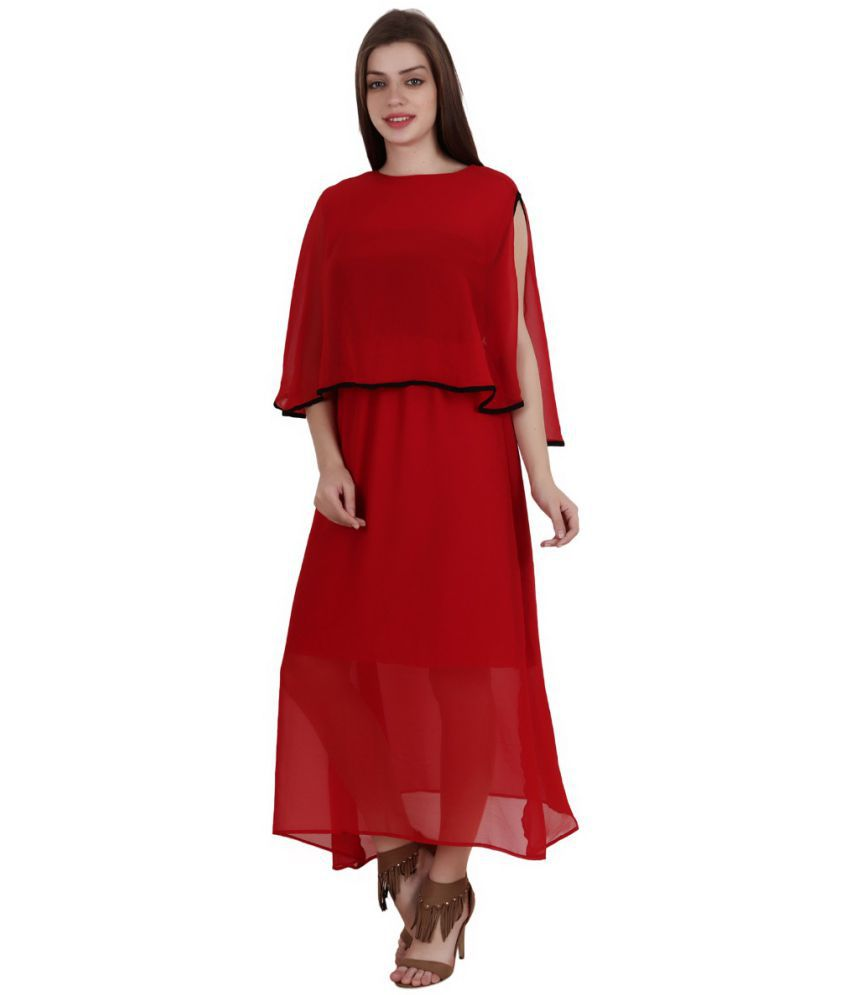 Fashionaire Georgette Maroon Empire Dress