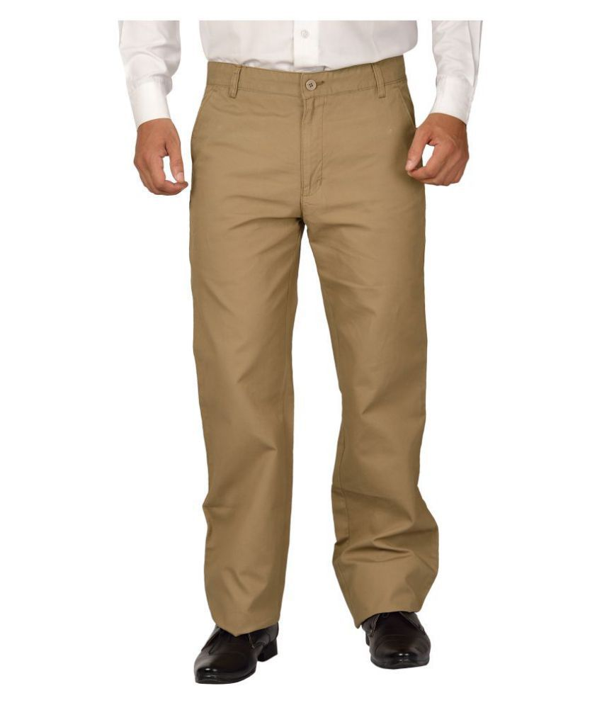 Maharaja Shirt Khaki Regular -Fit Flat Trousers