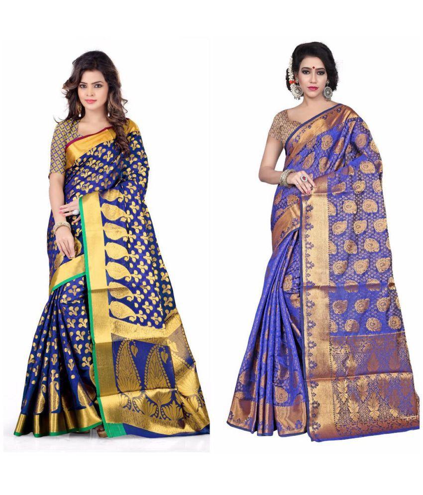 Gazal Fashions Blue Banarasi Silk Saree Combos