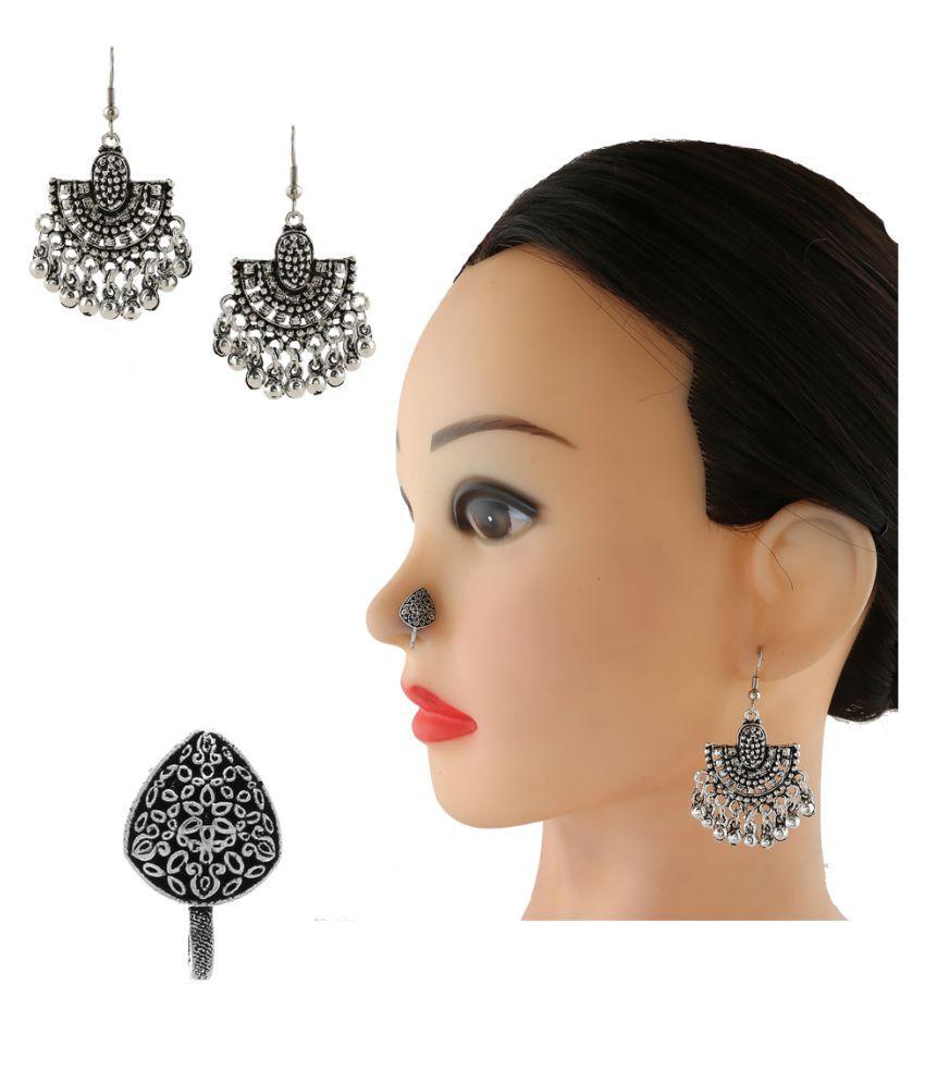 Anuradha Art Silver Colour Long Earrings & Nose Pin Combo Set For Women/Girls