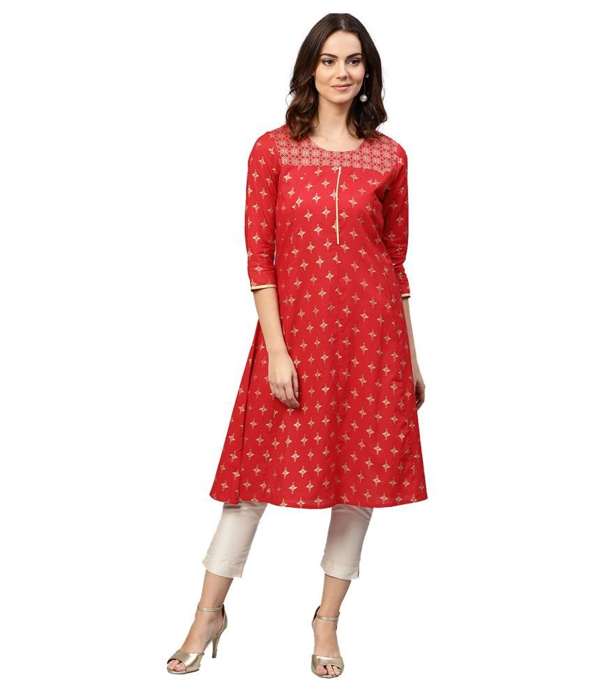 Jaipur Kurti Red Cotton Straight Kurti